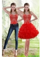 Detachable Wonderful 2015 Red Prom Dress with Beading and Ruffles