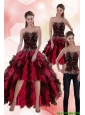 Detachable Affordable 2015 Sweetheart Multi Color Prom Dress with Beading and Ruffles