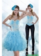 Detachable Exclusive Appliques and Ruffles Sweetheart Aqua Blue Prom Dress for 2015