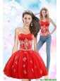 Detachable Luxurious 2015 Sweetheart Appliques Prom Dress in Red