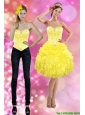 Detachable Pretty 2015 Sweetheart Yellow Prom Dress with Beading and Ruffles