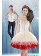 Perfect Detachable 2015 White and Red Prom Dress with Beading and Ruffled Layers