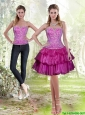 2015 Detachable Wonderful Fuchsia Prom Dress with Embroidery and Ruffled Layers
