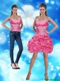 Detachable Elegant Strapless Hot Pink Prom Dress with Appliques and Pick Ups