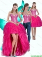 Most Popular High Low Hot Pink Sweetheart Detachable Prom Dresses with Ruffles and Beading