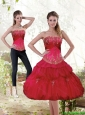 New Style Strapless Red 2015 Detachable Prom Dress with Beading