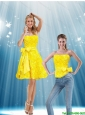 Sweet Strapless Yellow 2015 Detachable Prom Dress with Bowknot and Rolling Flowers