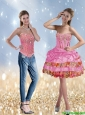 The Most Popular Beading and Ruffled Layers Rose Pink Detachable Prom Dress for 2015