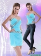 The Most Popular Mini Length Sweetheart Baby Blue Detachable Prom Dress with Beading