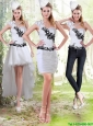 2015 Detachable Column Sweetheart White Prom Dresses with Black Appliques