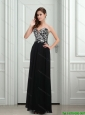 2015 Sexy Empire Sweetheart Black Prom Dress with Appliques