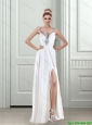 2015 Sexy Sturning Beading White Prom Dress with Beading and High Slit