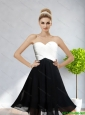 Cheap Sweetheart Ruching 2015 Prom Dress in White and Black