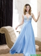 Exquisite 2015 sexy High Neck Beading Prom Dress in Light Blue