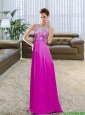 Modest Bateau Floor Length Beading and Ruching Fuchsia Prom Dress for 2015