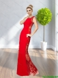 2015 Cheap Bateau Red Prom Dresses with Beading