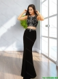 2015 Cheap Mermaid Black Prom Dresses with Beading