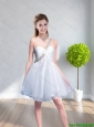 2015 Cheap One Shoulder Beading Prom Dress in White