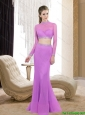 2015 Discount High Neck Column Beading Lilac Prom Dresses
