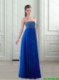 2015 Elegant Empire Strapless Royal Blue Prom Dresses with Beading