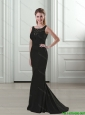 2015 Exclusive Mermaid Scoop Backless Black Elegant Bridesmaid Dresses with Lace