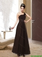 2015 Feminine One Shoulder Floor Length Prom Dress with Ruching