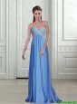 2015 Inexpensive Appliques and Beading Empire Blue Prom Dresses