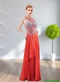 2015 Modest Bateau Beading Chiffon Prom Dresses in Red
