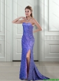 2015 Modest Empire Sweetheart Sequins and High Slit Prom Dresses in Lavender