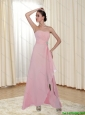 2015 New Style Beading and Ruching Strapless Rose Pink Prom Dress