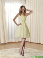 2015 New Style One Shoulder Light Yellow Prom Dress with Ruching