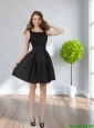 2015 New Style Scoop Black Short Prom Dress with Ruching
