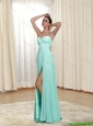 2015 Perfect Sweetheart Apple Green Prom Dress with Ruching and High Slit