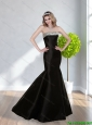 2015 Popular Mermaid Strapless Floor Length Prom Dresses in Black