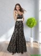 2015 Pretty Sweetheart Black Prom Dress with Belt and Lace