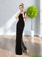 2015 sexy Perfect Scoop Black Floor Length Prom Dresses with Sequins