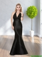 2015 Sexy Perfect V Neck Black Floor Length Prom Dresses with Sequins