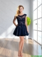 2015 Sophisticated Scoop Lace and Chiffon Black Prom Dress
