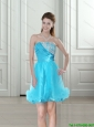 2015 Unique Elegant Beading and Ruching Empire Strapless Baby Blue Prom Dress