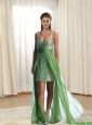 2015 Gorgeous High Low Spaghetti Straps Olive Green Unique Prom Dress with Beading