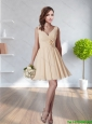 2015 Wonderful V Neck Champagne Prom Dress with Hand Made Flower and Ruching