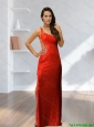 Cheap 2015 One Shoulder Beading and Sequins Red Prom Dress