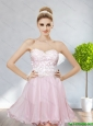 Cheap Sweetheart 2015 Baby Pink Prom Dresses with Appliques