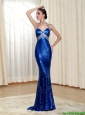 New Arrivals 2015 Halter Top Royal Blue Prom Dress with Sequins