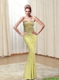 Gorgeous 2015 Sweetheart Beading Column Prom Dresses in Yellow