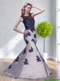 Luxurious Appliques Tulle Bateau 2015 Unique Prom Gown in White and Dark Purple