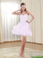 Perfect 2015 Strapless Appliques Chiffon Prom Dress in Rose Pink