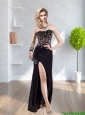 New Arrivals Beading and High Slit 2015 Prom Dress in Black