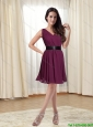 The Most Popular V Neck 2015 Burgundy Prom Dresses with Ruching and Belt