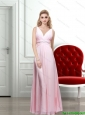 2015 Baby Pink V Neck Backless Long Prom Dress with Beading and Ruching